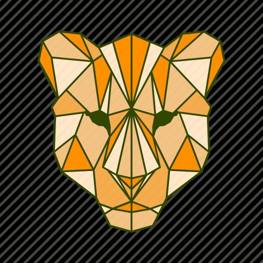 animal, facet, geometric, lion icon