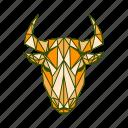 animal, bull, facet, geometric icon
