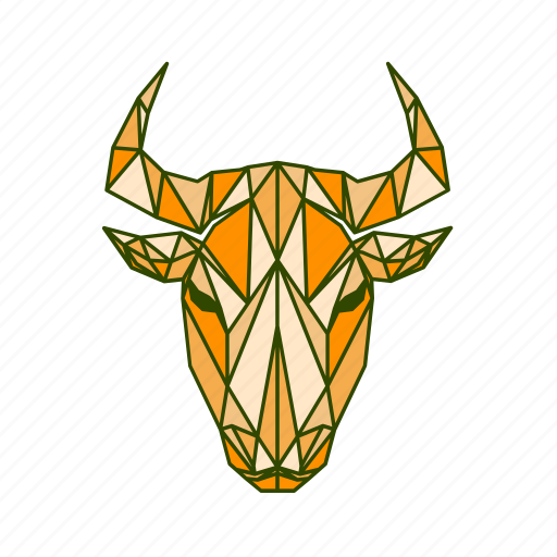 animal, bull, facet, geometric icon