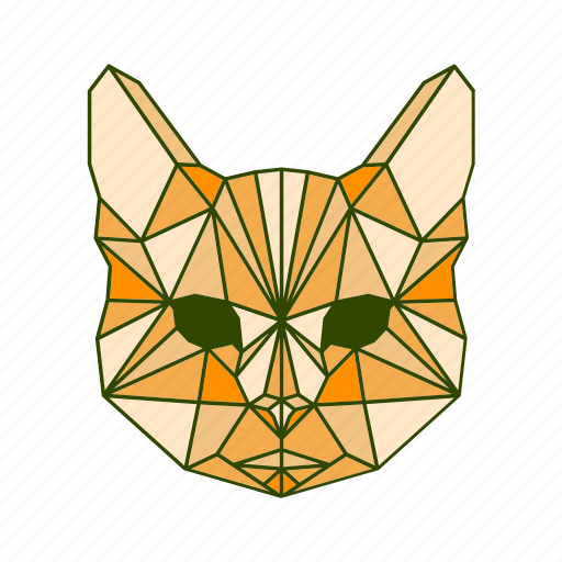 animal, cat, facet, geometric icon