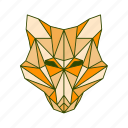 animal, facet, fox, geometric icon