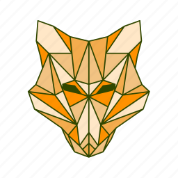 animal, facet, fox, geometric icon
