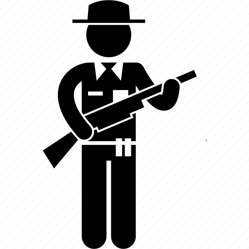 gun, officer, patrolman, police, policeman, uniform, warden icon