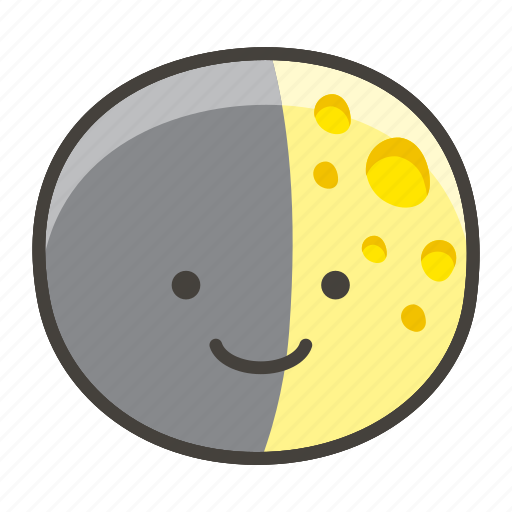 1f313, first, moon, quarter icon