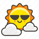 1f324, behind, cloud, small, sun icon
