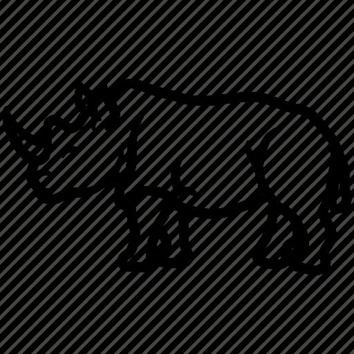 africa, ceratotherium, herbivorous, rhino, rhinoceros icon