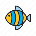 animal, blue, fish, striped, yellow icon