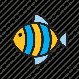 animal, blue, fish, striped, yellow icon