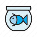 animal, bowl, fish, fishtank, goldfish, pet, tank icon