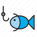 animal, fish, fishing, hook icon