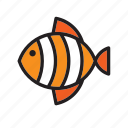 animal, fish, orange, stripped icon