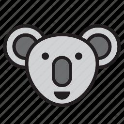 animal, australia, face, koala icon