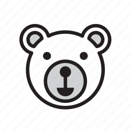 animal, bear, face, polar, white icon
