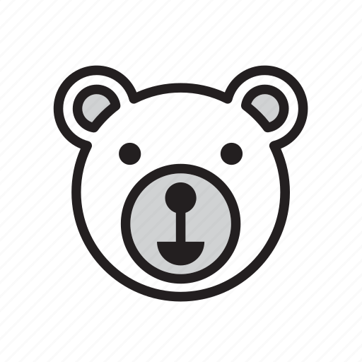 animal, bear, face, polar, white icon