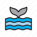 animal, ocean, sea, tail, whale icon