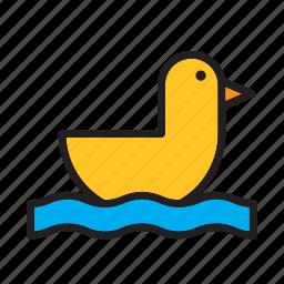 animal, bird, duck, water, yellow icon