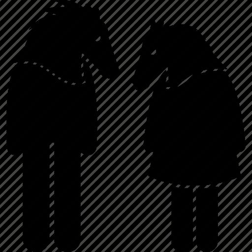 animal, anthropomorphic, couple, face, head, horse, human icon