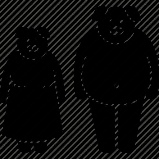 animal, anthropomorphic, couple, face, head, human, pig icon