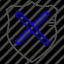 cancel, deactivate, protection, shield icon