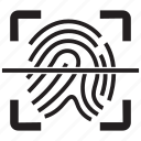 fingerprint, id, identification, identity, scan, security icon