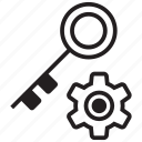 gear, key, lock, manager, password, secure icon