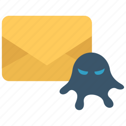 email, infested, malware, message, virus icon