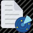files, radar, report, scan, scanning, statistics icon