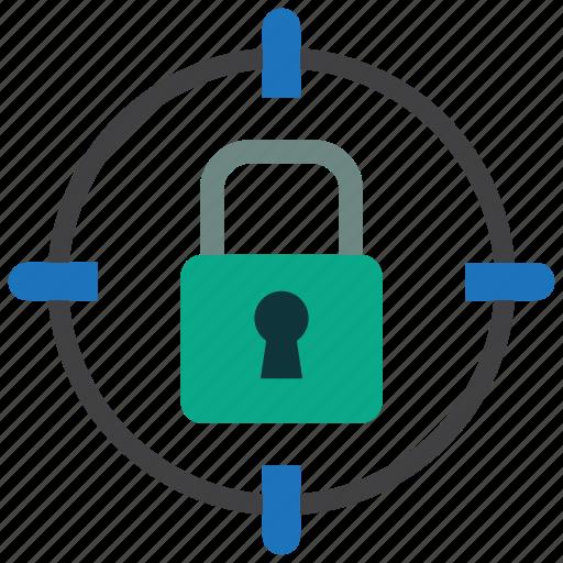 aim, locked, security, target icon