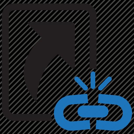arrow, broken, click, computer, damage, file, shortcut icon