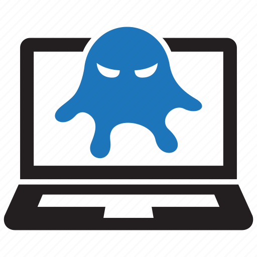 computer, infected, infested, laptop, malware, rootkit, virus icon