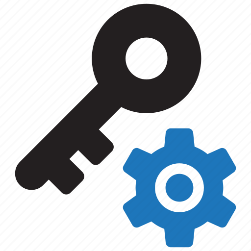 gear, key, lock, manage, manager, password, security icon
