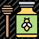 apiary, dipper, honey, honeycomb, jam