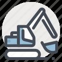 construction, excavator, heavy, heavy equipment, machine, machinery, vehicle icon