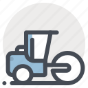 construction, heavy, heavy equipment, machine, machinery, road rollar, vehicle icon