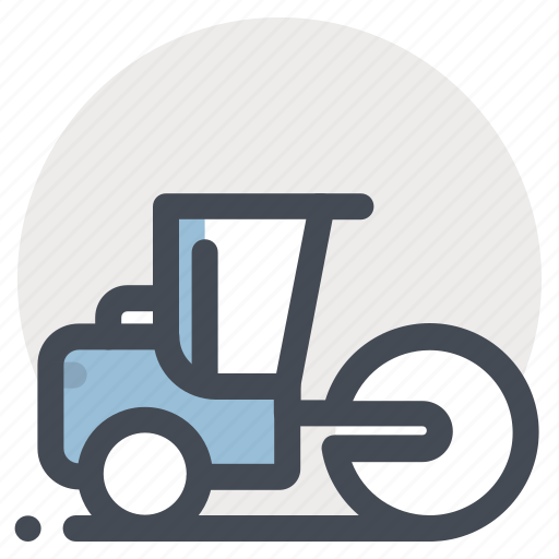 construction, heavy, heavy equipment, machine, machinery, road rollar, vehicle icon