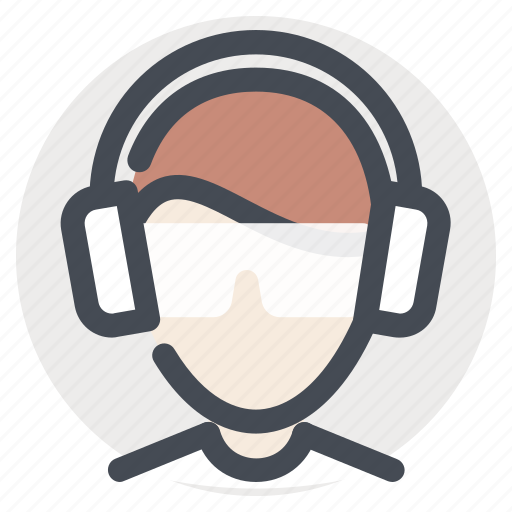 construction, earbuds, manager, professional, safety, soundproof, worker icon