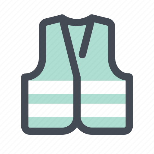 Construction, control, secure, jacket, protection, safety, life jacket icon