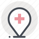 health, hospital, location, map, navigation, pin, place icon