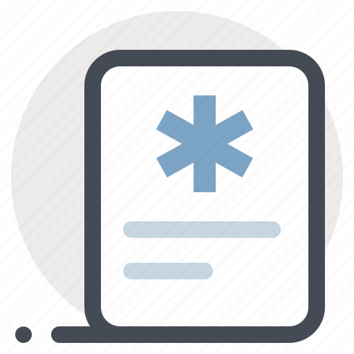 clinic, documents, files, hospital, letter, medical conclusion, patient icon
