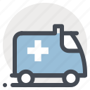 ambulance, emergency, emergency vehicle, first aid, health, health care, medicine icon