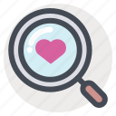 find, heart, love, search, target, valentine, zoom icon