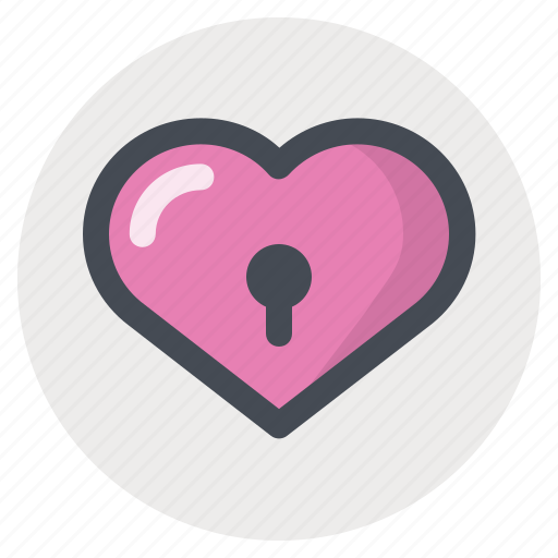 heart, lock, love, passion, security, valentine, valentine's day icon