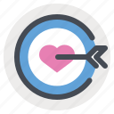 dart board, favorite, goal, heart, love, target, true love icon