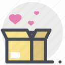 box, gift, hearts, passion, present, valentine, valentine's day icon