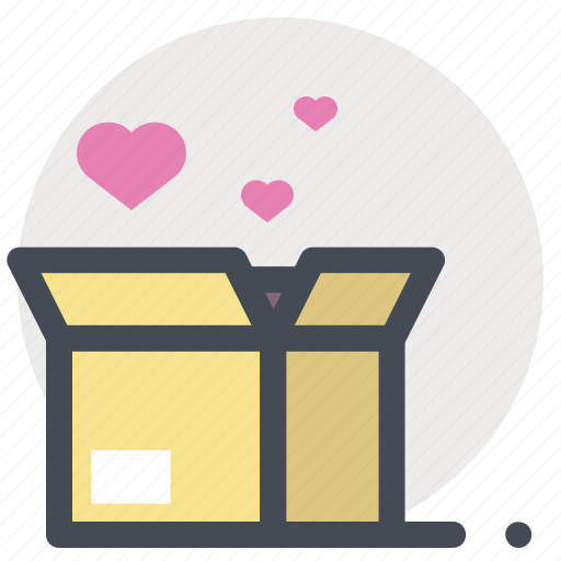 box, gift, hearts, passion, present, valentine, valentine's day icon