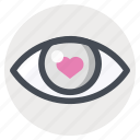 enamored, eye, first sight love, love, passion, valentine, valentine's day icon