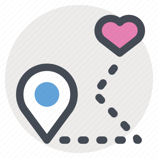 love, map, passion, pin, place, valentine, way icon