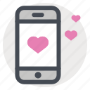 chat, dating app, device, love, meeting, message, phone icon