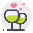 dating, drinking, enamored, love, meeting, stemware, wine icon