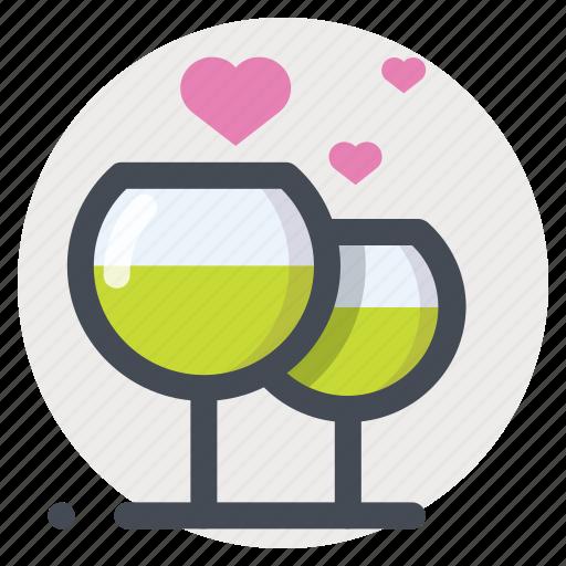 dating, drinking, enamored, love, meeting, stemware, wine icon